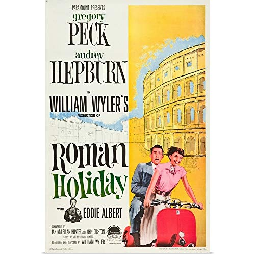 GREATBIGCANVAS Poster Print Entitled Roman Holiday, Eddie Albert, Gregory Peck, Audrey Hepburn, 1953 by 24
