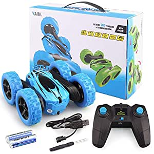 Remote Control Car Kids, Migavan 1:24 2.4GHz 360 Degree Rotation RC Remote Control Stunt Toy Car with Remote Control USB Cable Battery for Kids Blue
