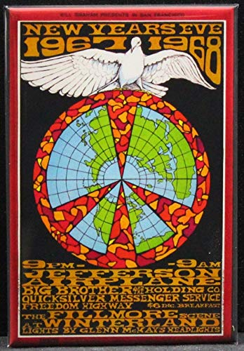 Jefferson Airplane Concert Poster Refrigerator Magnet. New Years Eve 1967/1968