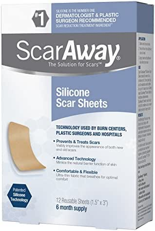 ScarAway Professional Grade Silicone Scar Treatment Sheets, 12 Count
