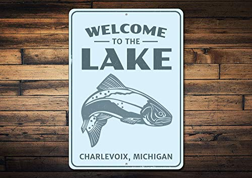 Dozili Welcome to The Lake Fish Sign Personalized Lake Location Name Metal Decor Custom Bass Fishing Lover Gift - Novelty Aluminum 10