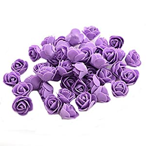 Ewandastore 100 Pcs 1.2 Inch Fake Rose Heads Real Looking Artificial Roses Flowers Heads for Wedding Bouquets Centerpieces Party Baby Shower Home DIY Decorations(Purple) 9