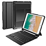 Nulaxy iPad Keyboard Case Compatible with iPad Air1/2, iPad Pro 9.7, iPad 9.7 2017/2018 - Detachable Bluetooth Keyboard/Built-in Magnetic Foldable Solid Stand with Auto Sleep/Wake - KM14 Black