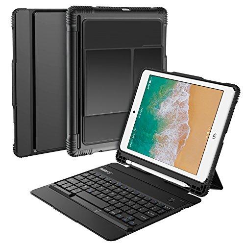 Nulaxy iPad Keyboard Case for iPad Air1/2, iPad Pro 9.7, iPad 9.7 2017/2018 - Detachable Wireless Bluetooth Keyboard/Built-in Magnetic Foldable Solid Stand with Auto Sleep/Wake - KM14 Black by Nulaxy
