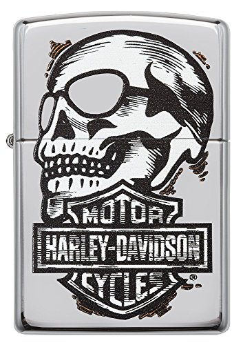Zippo Harley-Davidson Skull & Logo High Polish Chrome Pocket Lighter