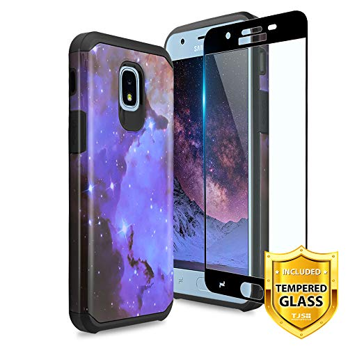 TJS Galaxy J7 2018/J7 Refine/J7 Star/J7 Eon/J7 TOP/J7 Aero/J7 Crown/J7 Aura/J7 V 2nd Gen Case [Full Coverage Tempered Glass Screen Protector] Dual Layer Hybrid Shockproof Phone Case Armor (Stardust)