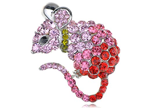 Alilang Cute Mouse Rat Pet Silvery Tone Ombre Rhinestone Crystal Animal Critter Pin Brooch, Pink