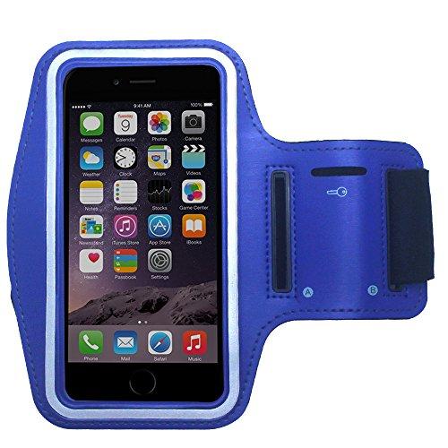 Praktische Sport-Armband Tasche für Huawei P8 / P8 Lite / P6 in Blau mit Schlüsselfach von PrimaCase