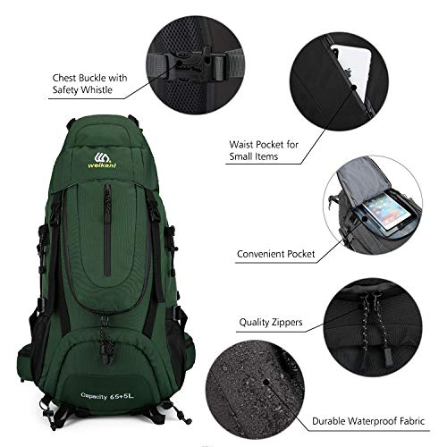 Weikani Internal Frame Hiking Backpack 65L+5L High-Performance Backpack for Backpacking, Travel, Camping, Mountaineering