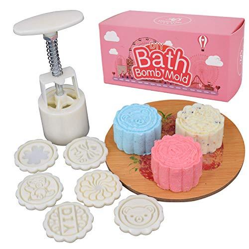 Bath Bomb Press - DIY Fizzy Lush Bath Bombs Tool Set for Women/Kids- 1 Barrel 6 Stamps (White)