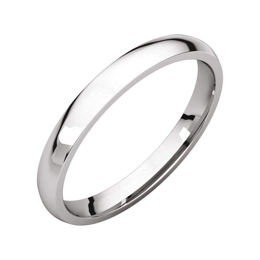Bonyak Jewelry 14K X1 White 2.5 mm Lightweight Comfort-Fit Band in 14k White Gold Size 8.5