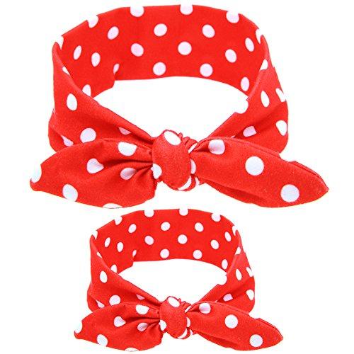 [Women Turban Headbands Bow Knot Teens Girls Hair Bands Head wraps Baby Hair Bows (red dot)] (Red Girls Hair Band)