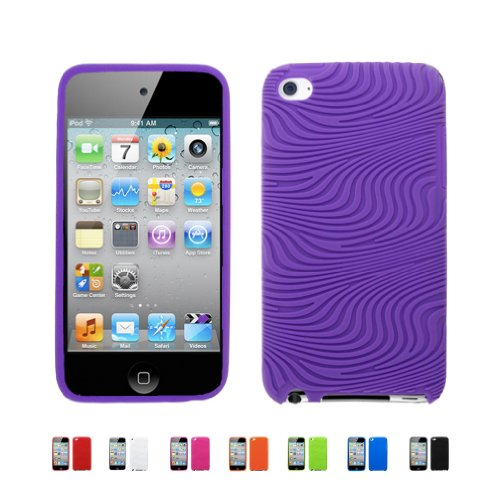 PURPLE Apple iPod Touch 4 4G w/ Cameras ( iPod Touch 4G, iPod Touch 4th Generation) 16GB 32GB 64GB WAVY Textured Silicone Case Skin Cover + Free Screen Protector (Many Colors Available), PURPLE