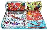 V Vedant Designs Bird Print Patchwork Cotton Kantha Quilt Throw Blanket Bedspread Gudari (Twin Size)