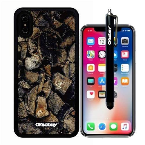 (iPhone X Case, Stakes Collection Wood Texture Case, OkSoBuy Ultra Thin Soft Silicone Case for Apple iPhone X - Stakes Collection Wood Texture)
