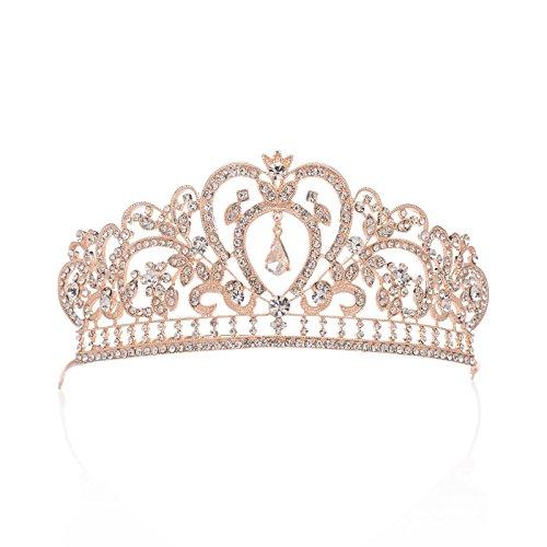 AWEI Crystal Tiara Wedding Crown Headband - Rose Gold Rhinestone Tiara Women Hair Jewelry - Birthday Tiara Crowns Cake Topper ()