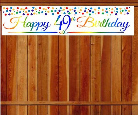 CakeSupplyShop Item#049RPB Happy 49th Birthday Rainbow Wall Decoration Indoor / OutDoor Party Banner (10 x 50inches) - 49 Wall