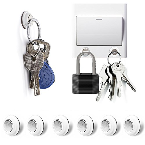 Tescat Magnetic Key Holder, 6 Packs Key Racks Organizer - Wall Mounted Decoration Without Drilling