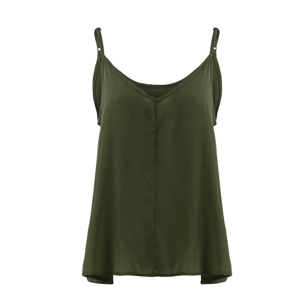 Nuewofally Solid Sling Vest for Women Tie-up Top Irregular Hem Blouse Special Crop Shirt Sleeveless Vest V Neck T-Shirt Army Green