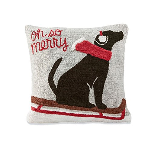 Mud Pie Oh So Merry Dog Hooked Pillow (Pillows Mud Pie Christmas)