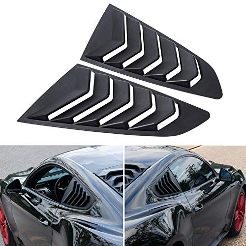 2PCS Quarter Side Window Scoop Louvers Matte Black GT Lambo Style ABS Window Visor Cover Sun Rain Shade Vent for Ford Mustang 2015 2016 2017 2018