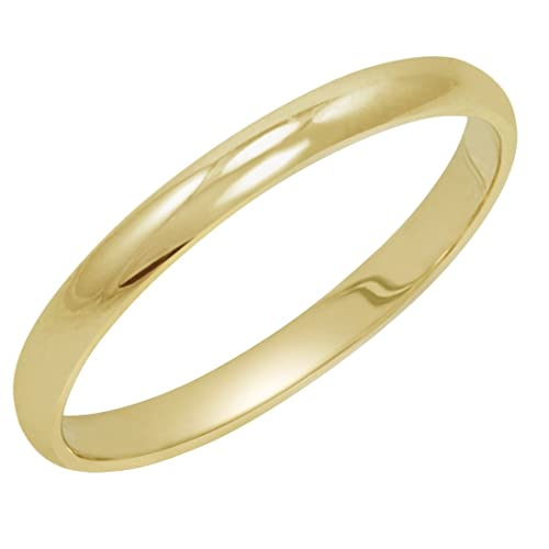 46597dba6b0e8 Women's 14K Yellow Gold 2mm Traditional Plain Wedding Band (Available Ring  Sizes 4-8 1/2)