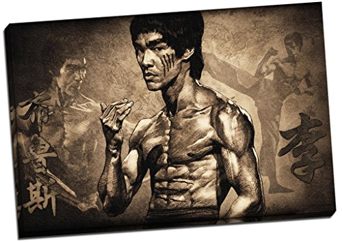Panther Print Bruce Lee Martial Arts Canvas Print Picture Wall Art Large 30X20 Inches Brown, Black