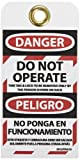 NMC SPLOTAG10 English/Spanish Lockout Tag,''DANGER DO NOT OPERATE.'', 3'' Width x 6'' Height, Unrippable Vinyl, Black/Red on White (Pack of 10)