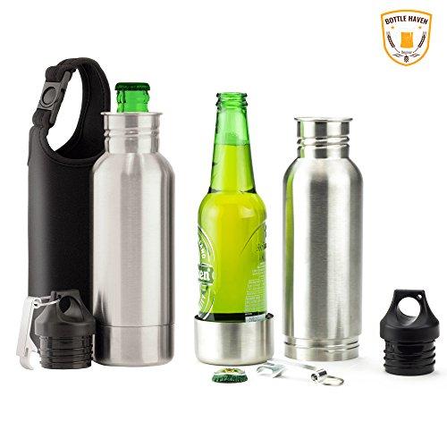 Bottle Haven Stainless Steel Beer Koozie Insulator, Conceals Most 12-Ounce Glass Bottles to Keep Beer or Carbonated Drinks Cold, Fresh and Out of Sight, Includes Free Metal Bottle Opener (Beer Glass Cold)