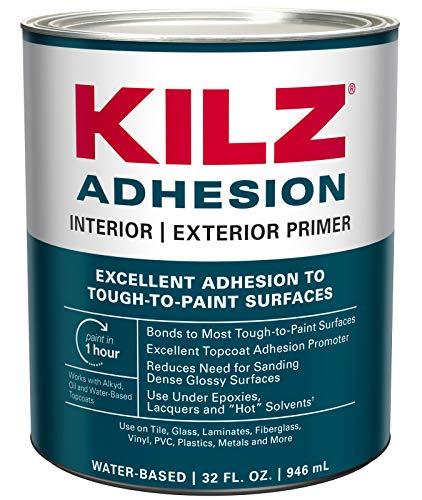 KILZ Adhesion High-Bonding Interior/Exterior Latex Primer/Sealer, White,