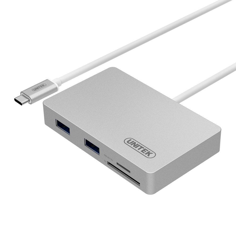 UNITEK Charge & Data USB 3.0 Aluminum Hub+SD/microSD Card Reader + Recharging Port, Type-C(USB 3.1 Gen1& Thunderbolt 3) Hub Power Delivery Compatible New MacBook 12'', ChromeBook Pixel, Nexus6P