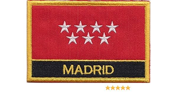 Madrid ciudad España Bandera Bordada rectangular parche Badge: Amazon.es: Jardín