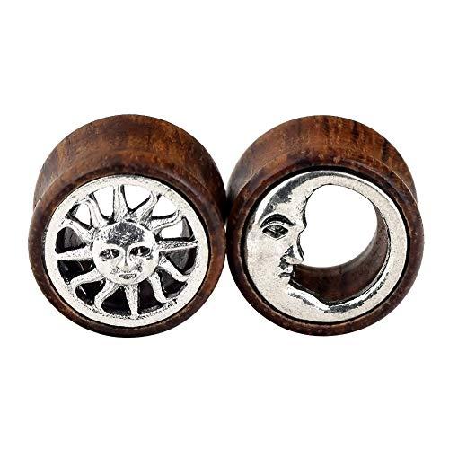 - Oyaface 2 Pcs Sun & Moon Organic Wood Flesh Tunnels Double Flared Ear Stretcher Saddle Plugs 0g-3/4''