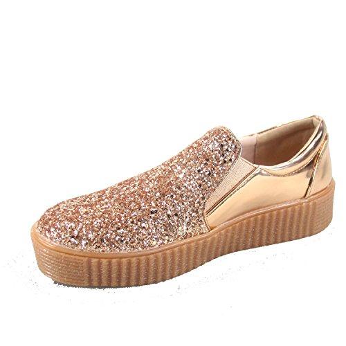 Pour Toujours Lien Regan-2 Mode Féminine Autour De Lorteil Élégant Paillettes Bas Plate-forme Sneakers Chaussures Or Rose