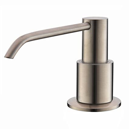 Comllen Commercial Brushed Nickel Stainless Steel Kitchen Sink Countertop Soap Dispenser With 106 Ounce Capacity Brushed Nickel