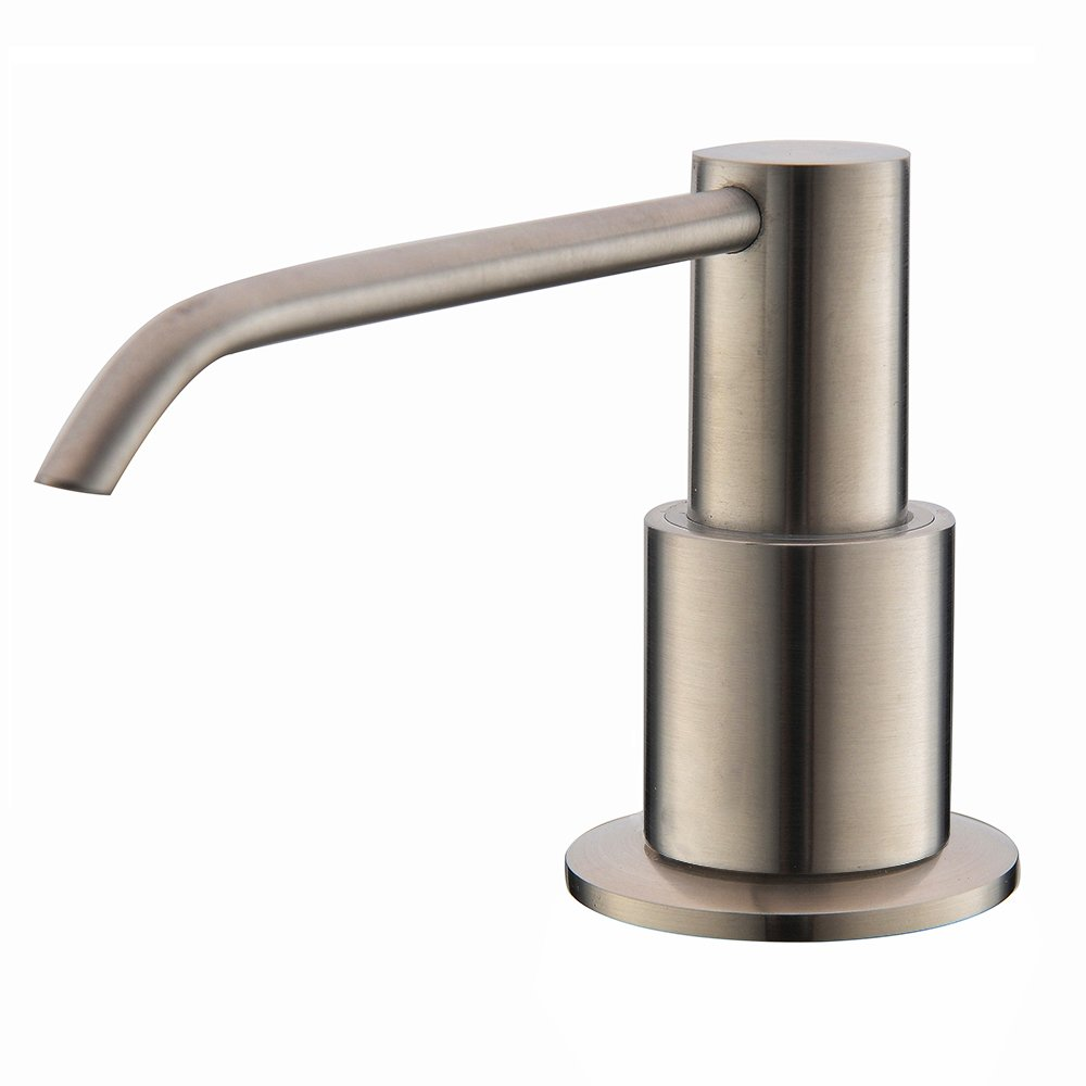 Comllen Commercial Brushed Nickel Stainless Steel Kitchen Sink Countertop Soap Dispenser With 10.6 Ounce Capacity, Brushed Nickel