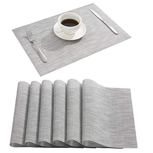 Nacial Gray Place Mats Waterproof Placemats Washable&Wipeable Table Mats Set of 6 for Dining Table Kitchen Reataurant Table