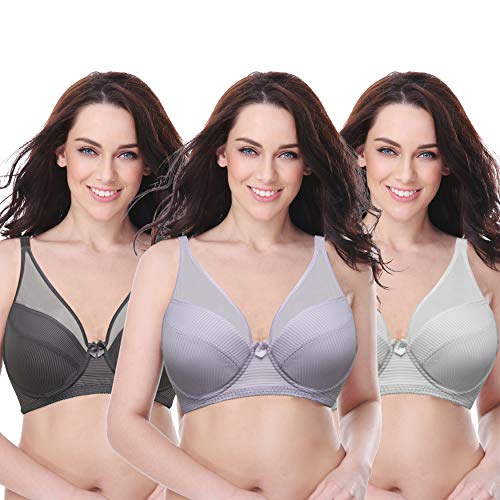 Curve Muse Women's Plus Size Minimizer Unlined Underwire Full Coverage Bra-3PK-LAVENDER,Gray,CREAM-40DD