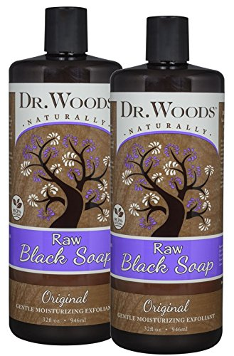 Dr. Woods Natural Raw African Black Moisturizing Liquid Castile Soap, 32 Ounce (Pack of 2) (All Purpose Shampoo Bar)