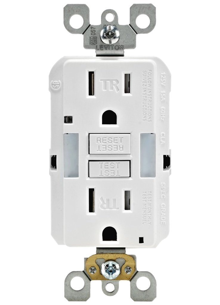 Leviton GFNL1-W Self-Test SmartlockPro Slim GFCI Tamper-Resistant Receptacle with Guidelight and LED Indicator, 15-Amp, 3-Pack, White by Leviton (Image #1)
