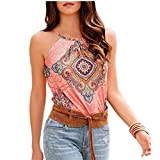 Tank Top for Womens Casual Summer Sleeveless Round Neck Strap Cami Beach Camisole Loose Pleated Tank TopBlouse Pink