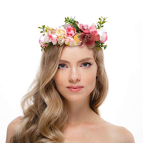 own Floral Headpiece with Ribbon for Girls Women Hair Wreath Flower Headband Headpiece for Wedding Party, Pink ()