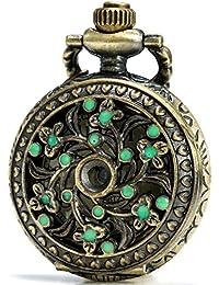 SEWOR Delicate Pandent Quartz Pocket Watch Green Flower Bronze Case