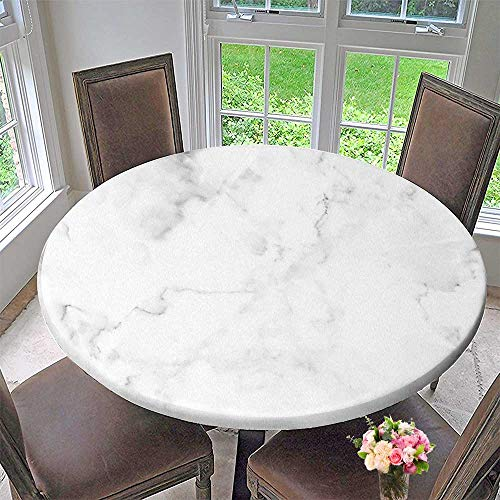 PINAFORE HOME Picnic Circle Table Cloths White Marble stonetexture Used Design for Background for Family Dinners or Gatherings 55