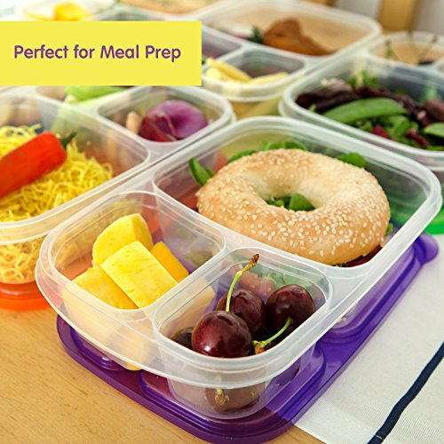 Bento Lunch Box | Meal Prep Containers | 7 Pack | Reusable 3-Compartment Plastic Divided Food Storage Container Boxes for Kids & Adults | Microwave, Dishwasher and Freezer Safe by Lucentee by LUCENTEE (Image #6)'
