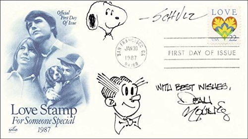 - Charles M. Schulz - Original Art On First Day Cover Signed co-signed By: Dean Young