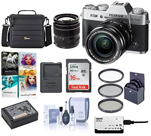 Fujifilm X-T20 Mirrorless Digital Camera Body, with XF 18-55mm F2.8-4 R LM OIS Lens, Silver - Bundle with Camera Case, 16GB SDHC Card, 58mm Filter Kit, Cleaning Kit, Card Reader, Software Package (Xf18 55mmf2 8 4 R Lm Ois)