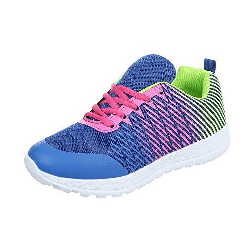 Zapatos para mujer Zapatillas Plano Zapatillas altas Ital-Design Azul Multi