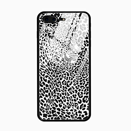 Black and White Leopard Grain Hard Ultra Thin Slim Case Anti-Scratch with [Tempered Mirror + Glossy Coating] Full Protective for iPhone - Grain Metal Jacket Full Case