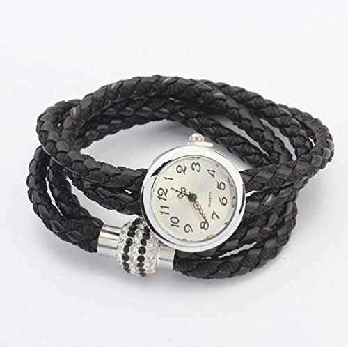 USMagic 2015 New Fashion Women Leather Wrist Watch Bracelet Retro Vintage Angel Pendant Weave Wrap Quartz Watch B042 by USMagic